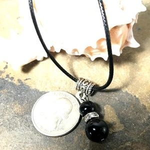 1618 Black agate lucky gourd necklace